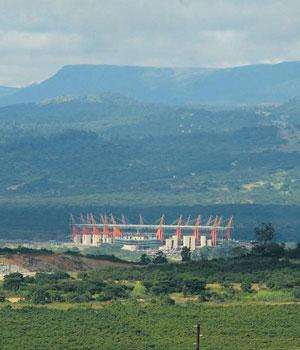 Die Mbombela-stadion in Nelspruit. Foto: Felix Dlangamandla