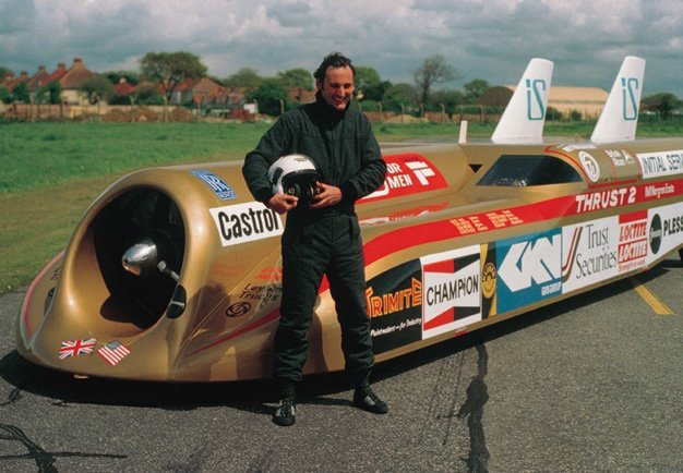 In 1983 Richard Noble raises the World Land Speed record to 1020km/h in Thrust II. Image: Supplied