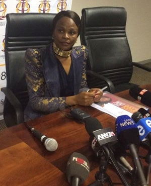 Advocate Busiswe Mkhwebane briefs the media on the first 100 days in office. (Tshidi Madia, News24)