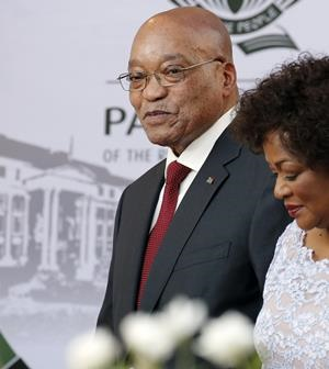 President Jacob Zuma and National Speaker Baleka Mbete arrive for the State of the Nation address. (Mike Hutchings, AFP)