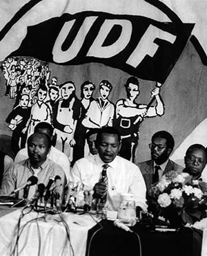 United Democratic Front leaders addressing the media in 1990 in Cape Town. Pictured are, among others, Archie Gumede, Murphy Morobe, Terror Lekota, Moses Mayekiso and Popo Molefe. (Gallo Images)