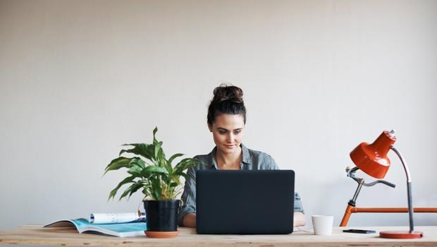 woman working desk