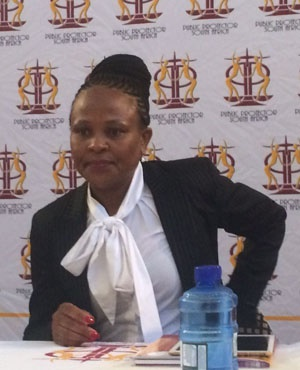 Busiswe Mkhwebane at the Johannesburg City Hall - this is her first stop as she starts a stakeholder engagement tour across the country. (Tshidi Madia, News24)