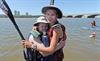 Grade 11 Epworth High School girls Jenna Mingay (17) and Katja Vonteman (16) at the finish of the Dusi Canoe Marathon at Blue Lagoon in Durban on Saturday.