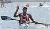 Second placed Sibonelo Khwela at the finish of the Dusi Canoe Marathon at Blue Lagoon in Durban on Saturday.