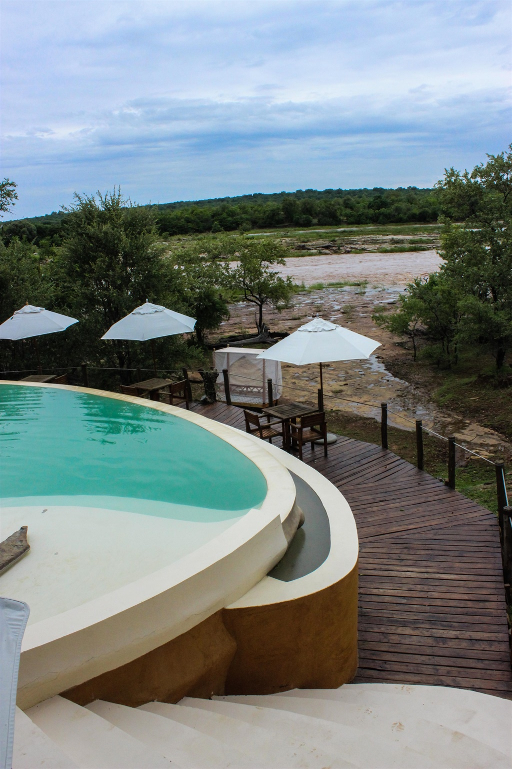 Pool looking out on the Ruaha River at Azura Selou