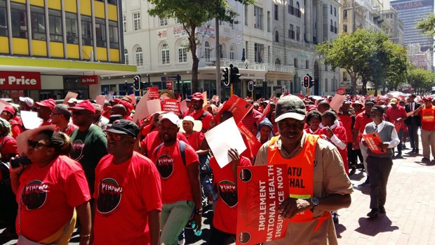 Nehawu members march in Cape Town before the budget speech. (Jenni Evans  News24)