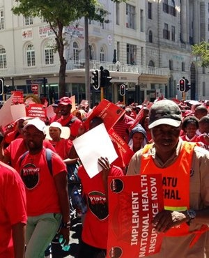 Nehawu members march to Parliament in Cape Town. (File photo: Jenni Evans, News24)