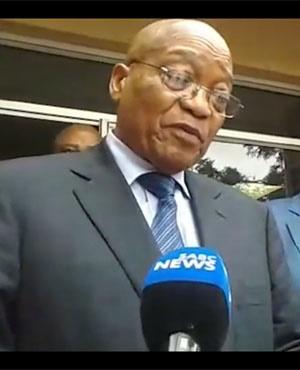 President Jacob Zuma addressing the media on his visit to Soshanguve. (YouTube)