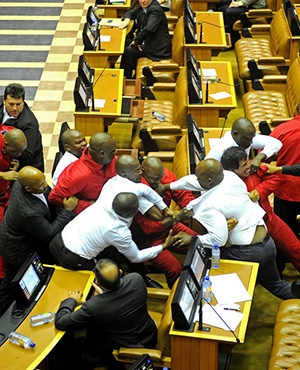Fracas in the National Assembly. Picture: Lerato Maduna