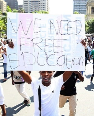Students from the University of South Africa (Unisa) protest in Durban for free higher education. (Photo: Gallo Images)