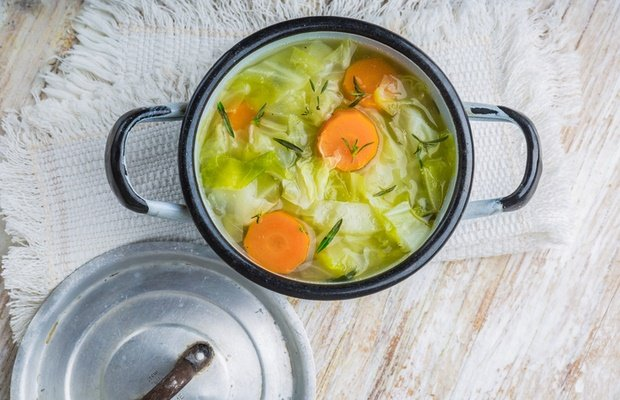 cabbage soup in pot