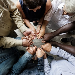 hands are joined together in solidarity