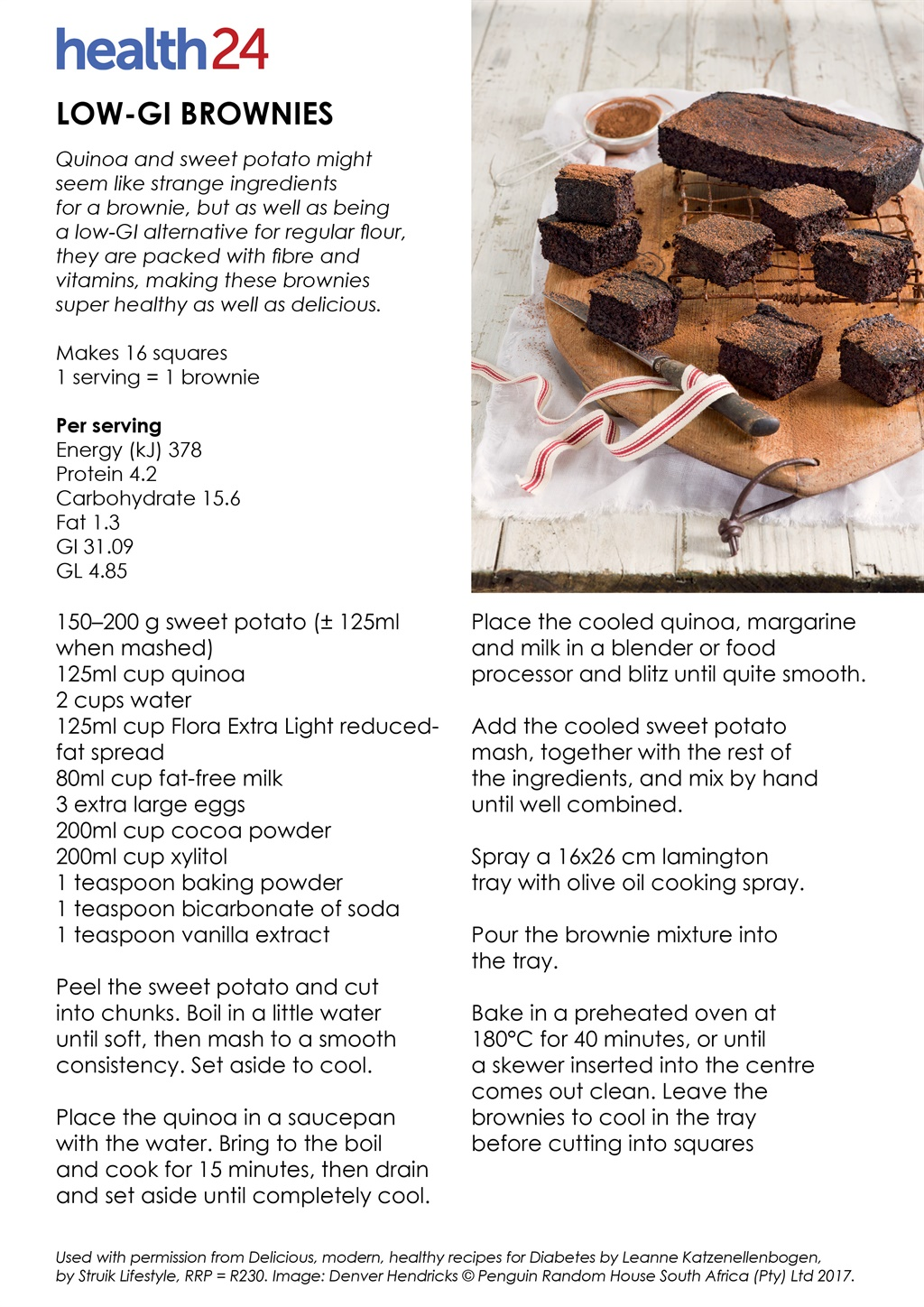 brownie recipe, low GI, diabetes, chocolate