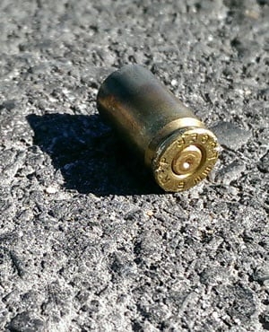 A bullet casing from the robbery scene. (Duncan Alfreds, News24)