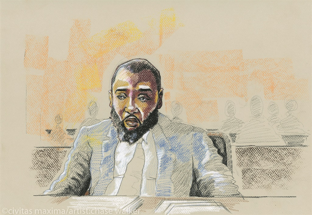 JUNGLE JABBAH Mohammed Jabbateh during his trial in Philadelphia            artist: Chase walker, 2017. Picture: Civitas Maxima