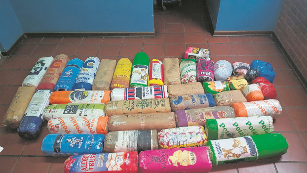 A man was arrested in Camperdown on Monday night after he was found in possession of 144?kg of dagga packed into potato sacks.