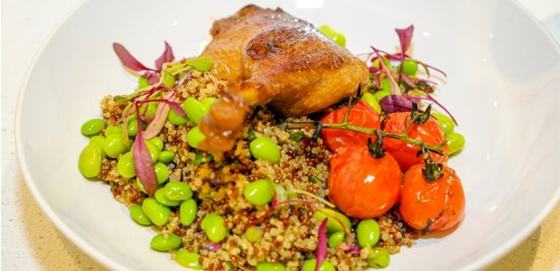 asian duck and wild quinoa salad