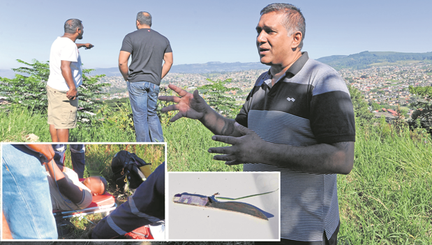 Community-based crime watch group member Anesh Singh describes how the robber was shot in Northdale on Wednesday morning. LEFT: The suspect who tried to stab a police officer is treated by paramedics after being shot in the thigh. RIGHT: The knife that the suspect used to try and stab a police officer .