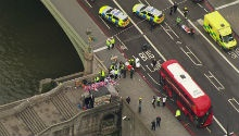 WATCH: Woman falls off Westminster Bridge during London 'terror attack'