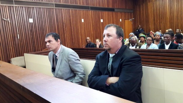 Coffin assault accused Theo Jackson and Willem Oosthuizen. (Jeanette Chabalala/News24)