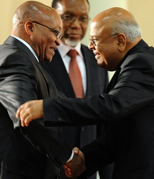 President Jacob Zuma and Finance Mininster Pravin Gordhan. (Alexander Joe, AFP)