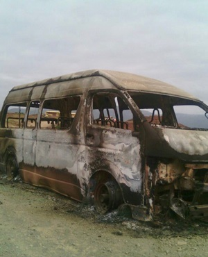 A taxi was set alight in Mgonyame village between Libode and Port St Johns last week. (Supplied)