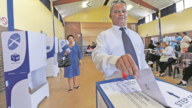 Alwin Stoffels casts his vote in the Ward 32 by-elections in Woodlands, which were held on Wednesday.