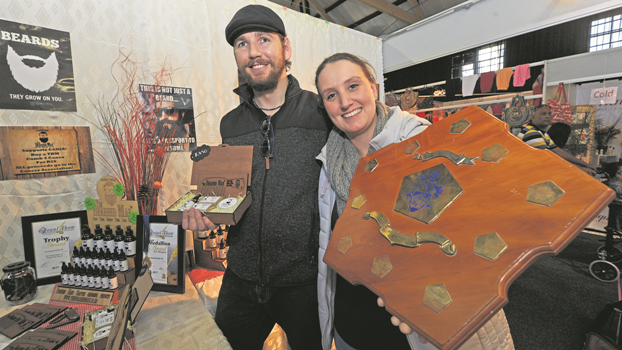 Winners of the Pietermaritzburg Sakekamer Shield for best display by first-time exhibitors, Johan (left) and Leigh-Ann Marais from The Bearded Man, at the Royal Show.