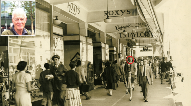 The undated picture of Church Street in which John Deane (circled) was spotted by his relatives. Deane is directly behind the little girl, and the face visible over the other man's shoulder is that of his mother. INSET: Deane (83) still lives in Pietermaritzburg.