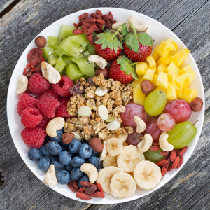 Bowl of fruit and nuts