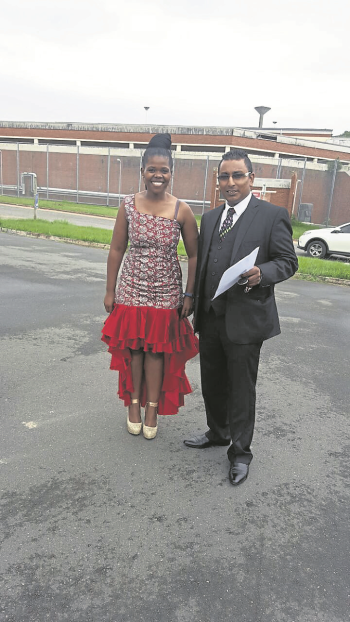 Thenjiwe Griffiths is pictured here with her attorney, Narain Naidoo, shortly after her release from prison.