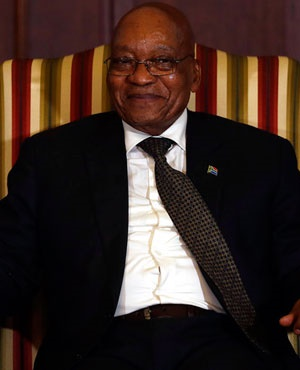 President Jacob Zuma reacts during a swearing in ceremony for the newly appointed ministers at the presidential guest house in Pretoria. (Themba Hadebe, AP, file)