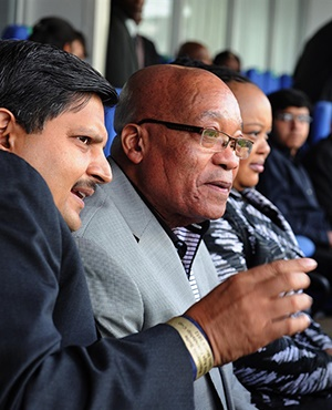 Atul Gupta, President Jacob Zuma and the First Lady MaNtuli Zuma at the Wanderers Stadium for a T20 match between South Africa and India in March 2012. (GCIS)