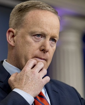 White House press secretary Sean Spicer pauses while talking to the media during the daily press briefing. (Andrew Harnik, AP)