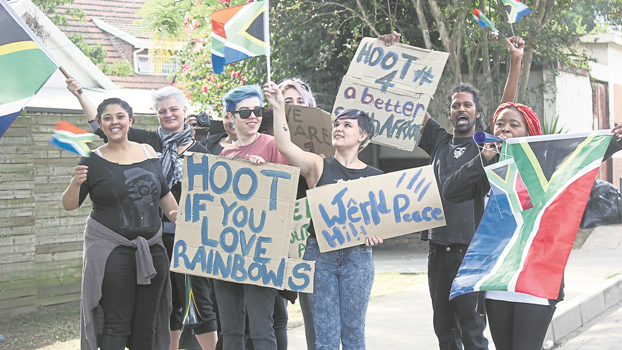 Employees of Blu Gel hair salon held a demonstration to 'spread love for the rainbow nation' on last week Friday on New England Road.