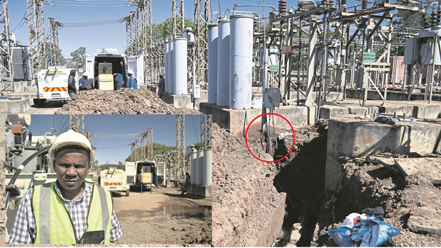 The burnt wire (circled) that is suspected to have caused the outage dangles in a pit dug by CBI technicians.INSET: Msunduzi Mayor Themba Njilo waits for updates at the Chatterton substation following the massive power outage in Pietermaritzburg.