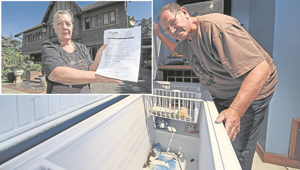 Managers of the Sleeping Bao B&B in Howick Road, Bert Loontjens, looks into an empty freezer after food had to be discarded due to the weekend power outage in the city.INSET: Co-managers at the Sleeping Bao B&B in Howick Road Colleen, Loontjens, holds up  a note from a disgruntled customer after the power outage in the city.