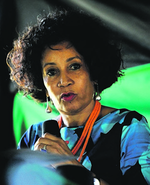 Minister of Human Settlements Lindiwe Sisulu addresses the opening of new ANC branch in Keiskammahoek near King William's Town, where she has been nominated to run for the ANC presidency in December. Picture: Tebogo Letsie