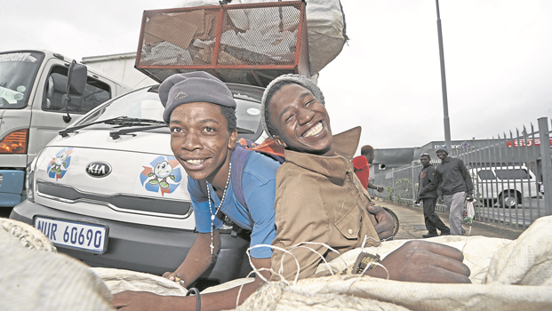 Two young recyclers, Sanele Mkhize (22, left) and Sthembiso Ngcobo (20), said the Songimvelo recycling initiative has saved them from committing crimes and indulging in drugs as they can now work and get paid for collecting recyclables.