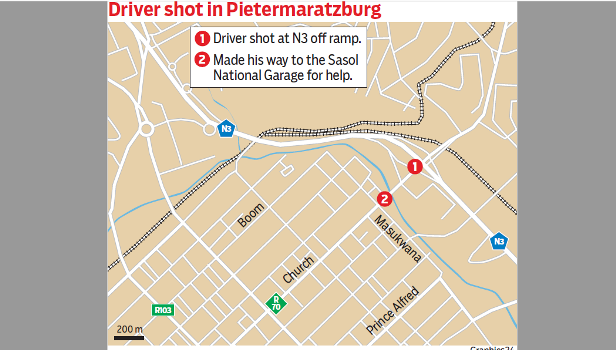 A truck driver was shot and abandoned on the N3.