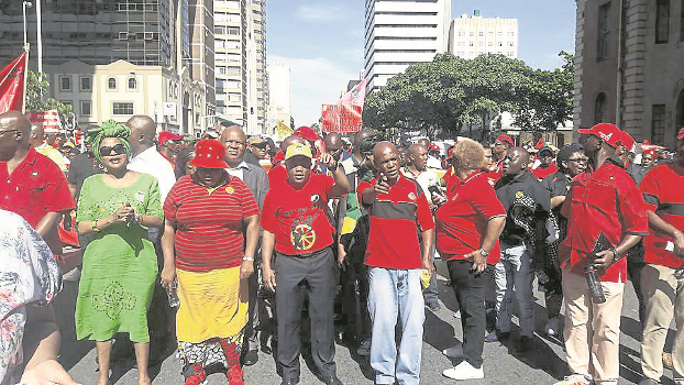 Workers on the march  Cosatu members marched in Durban's central business district on Monday as part of the congress' nationwide May Day rallies that saw workers boo the ruling ANC party's senior leaders at venues across South Africa.