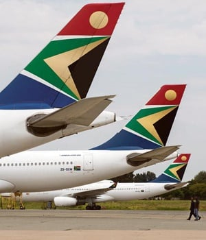 SAA planes sit on the tarmac at the OR Tambo International Airport in Joburg.