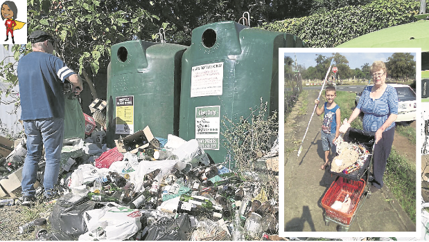 Heaps of rubbish left lying outside the recycling bins provided at the Prestbury garden refuse site.INSET: A great effort to clean up the city by Janet and Hayden Edwards who took it upon themselves to clean up the area around their home on Bulwer Street.