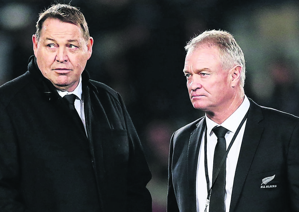 Steve Hansen and Grant Fox (Getty Images)