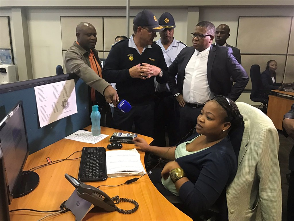 Minister of Police Fikile Mbalula visits the South African Police Service 10111 Call Centre in Midrand. Picture: Twitter/@MbalulaFikile