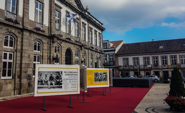 portuguese city hall with photo exhibit
