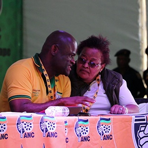 Sylvia Lucas with Zamani Saul. (Lerato Sejake/News24)