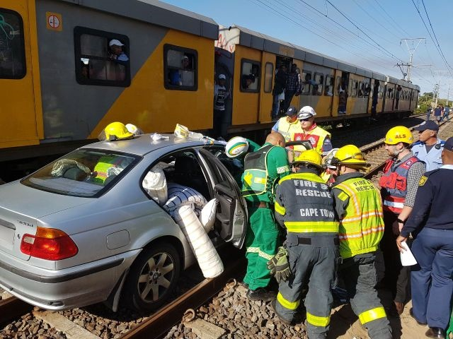 A  train crashed into a car at Uxbridge Road in Lakeside earlier today.