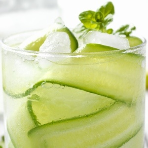 Cucumber and Basil cocktail with a hint of lemon a